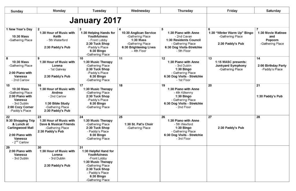 January Front Desk Calendar